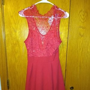 Red crochet top with sequins